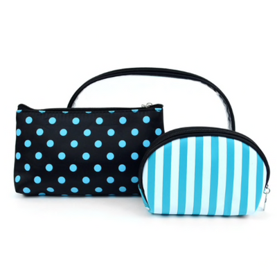 Personalized Clear, Dotted & Striped Makeup Cosmetic Bag 3 piece Set