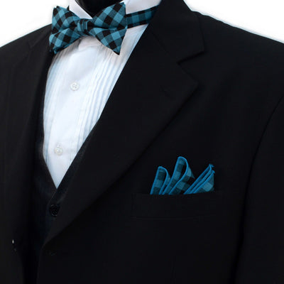 Men's Turquoise Plaid Cotton Bow Tie & Matching Pocket Square- Groomsmen Gift