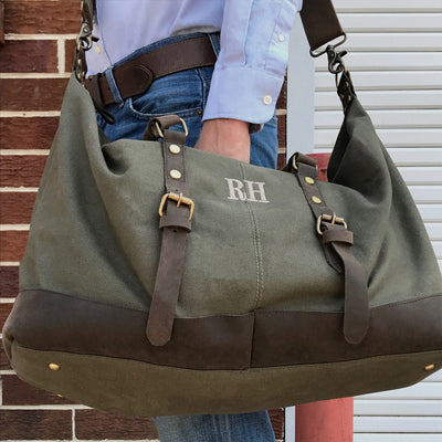 The Charles Military Style Oversized Weekend Travel Bag – Personalized Groomsmen Gift
