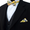 Men's Yellow Plaid Cotton Bow Tie & Matching Pocket Square - Groomsmen Gift