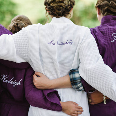 Personalized Bridesmaid Cotton Waffle Weave Robe
