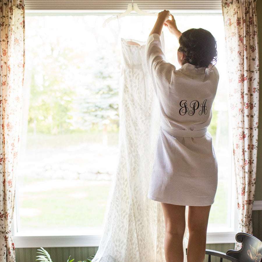 Personalized Bridal Party Cotton Waffle Weave Robe