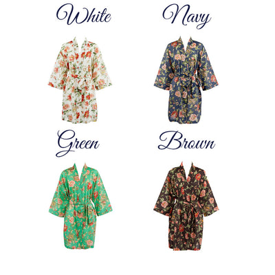 The Elizabeth – Personalized Cotton Muslin Floral Robe – Bridesmaids Bridal Party Gifts