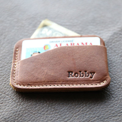 Personalized Groomsmen Leather Triple Sleeve Front Pocket Wallet, Best Man Gift - The Charleston