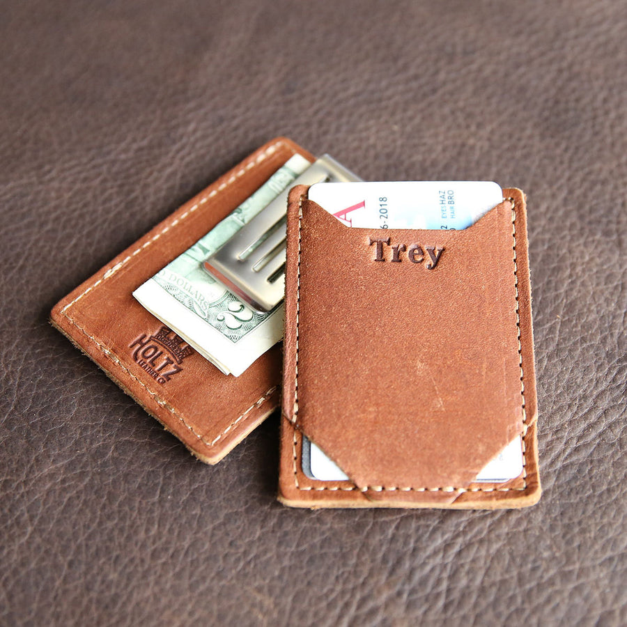 Personalized Groomsmen Money Clip, Front Pocket Fine Leather Wallet - The Trey