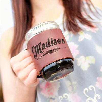 Personalized Bridesmaid Custom Mason Jar Leather Wrap - The Bootlegger