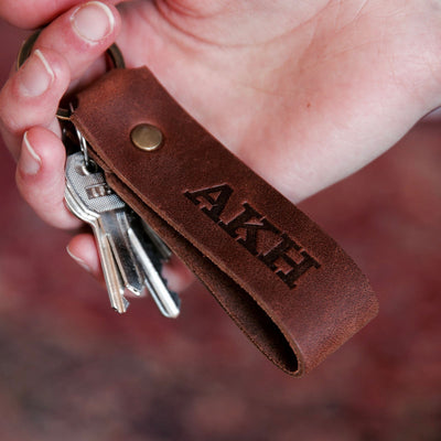 Custom Leather Keychain, Groomsmen Gift, Bridesmaid Gift, Wedding Party Gift - The Tucker
