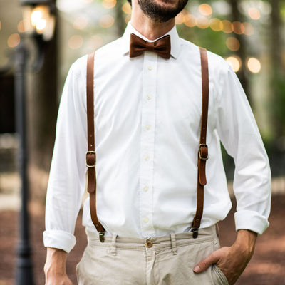 Personalized Groomsmen Fine Leather Adjustable Suspenders -  Classic Americana