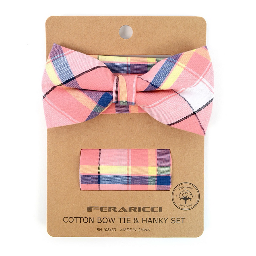 Men's Pink Plaid Cotton Bow Tie & Matching Pocket Square - Groomsmen Gift