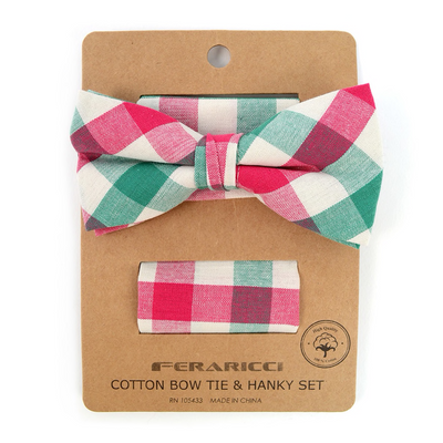 Men's Pink Green Plaid Cotton Bow Tie & Matching Pocket Square - Groomsmen Gift