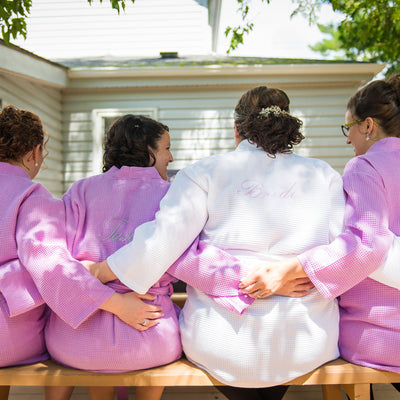 PLUS SIZE PERSONALIZED BRIDESMAID COTTON WAFFLE WEAVE ROBE