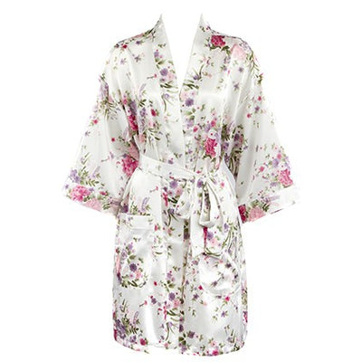 The Savannah – Personalized Satin Floral Robe – Bridesmaid Wedding Party Gift
