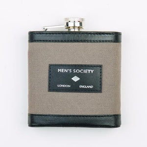 Men's Society Stainless Leather Canvas Hip Flask