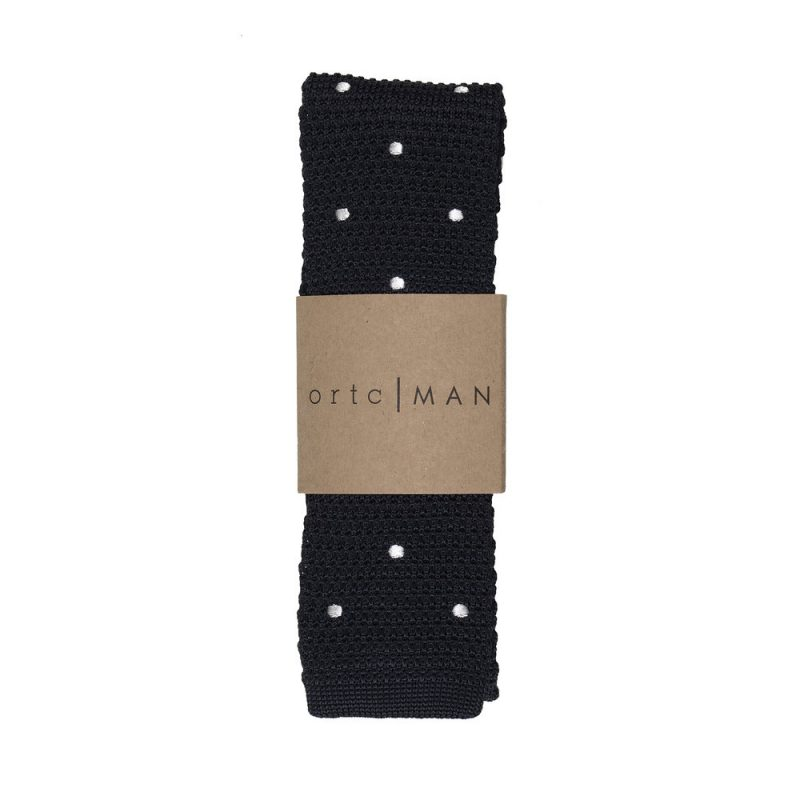 ORTC man - 'Black & White Polka' - Knitted Neck Tie