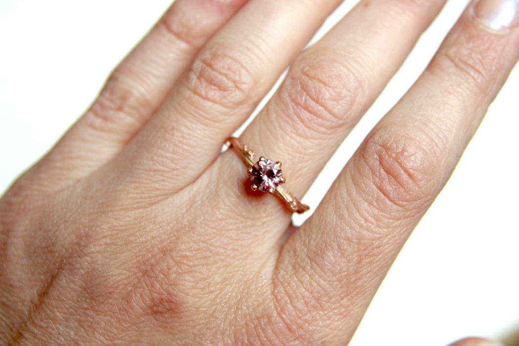 Pink Garnet Solitaire Twig Ring in Recycled 14k Gold