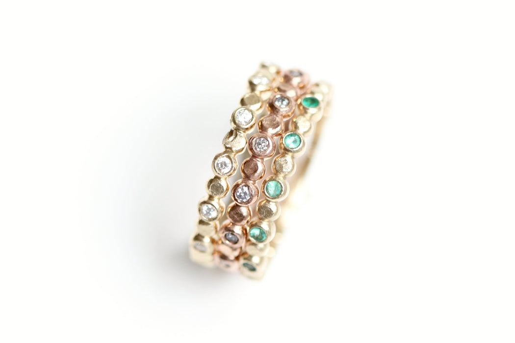 Ready to Ship Diamond Beaded Stacking Ring