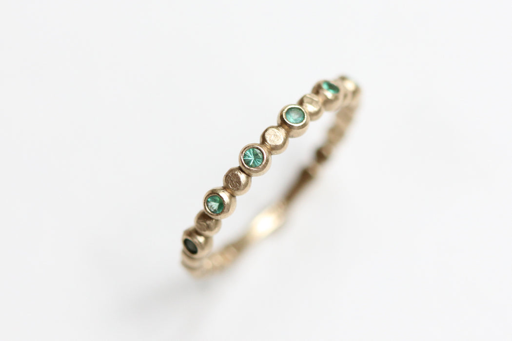 Ready to Ship Emerald Beaded Stacking Ring in 14k Gold