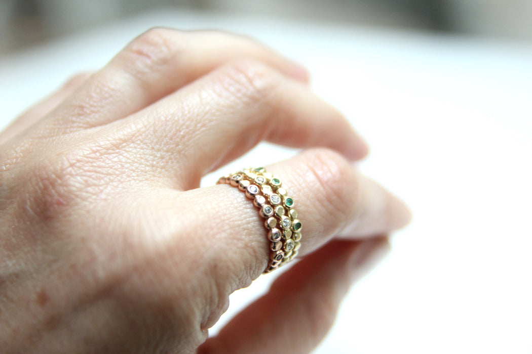 Ready to Ship - Grey Diamond Beaded Stacking Ring