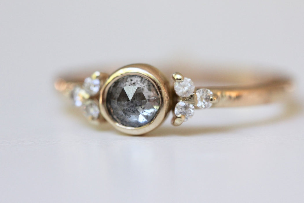 Salt and Pepper Diamond Ring with Floral Insprired Accent Diamonds