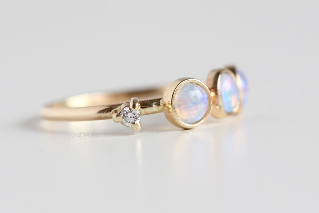 Opal and Diamond Ring in 14k Gold - Recycled Diamond and Opal Stacking Ring