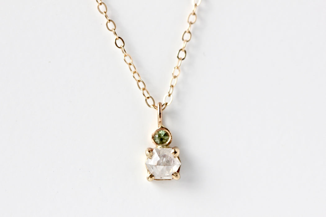 Hexagon Rose Cut Silver Diamond and Green Sapphire Necklace
