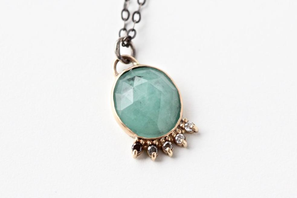 Emerald Necklace with Ombre Diamond Accents