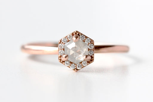 Grey Rose Cut Hexagon Diamond Engagement Ring - 14k Rose Gold