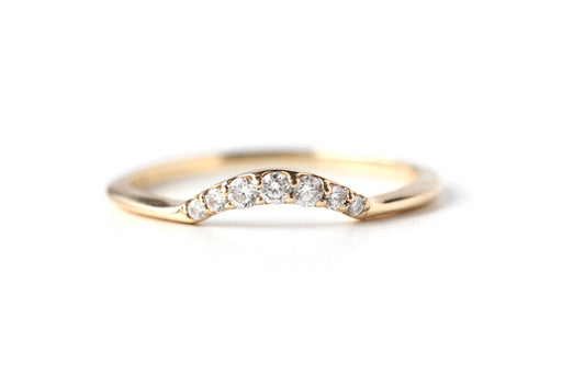 Half Halo Diamond Contour Wedding Band