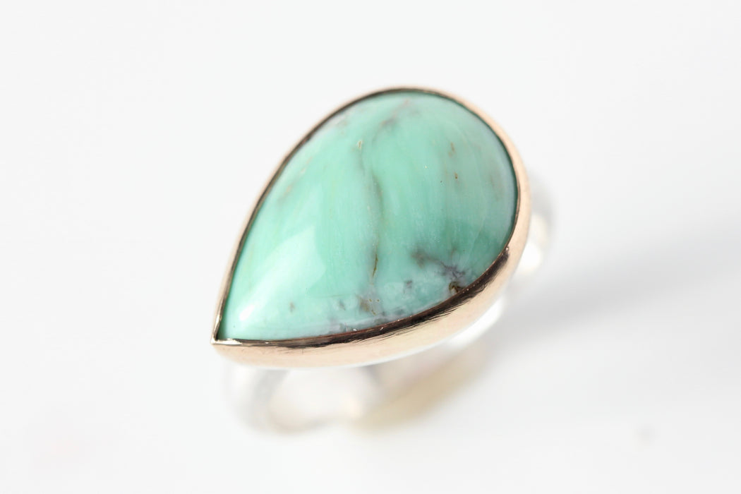 Side Swept Pear Variscite Ring