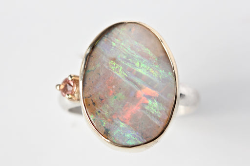 Boulder Opal and Oregon Sunstone Ring