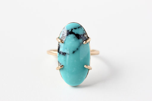 Turquoise Ring in 14k Yellow Gold - One of a Kind Prong Set Elongated Oval Gemstone