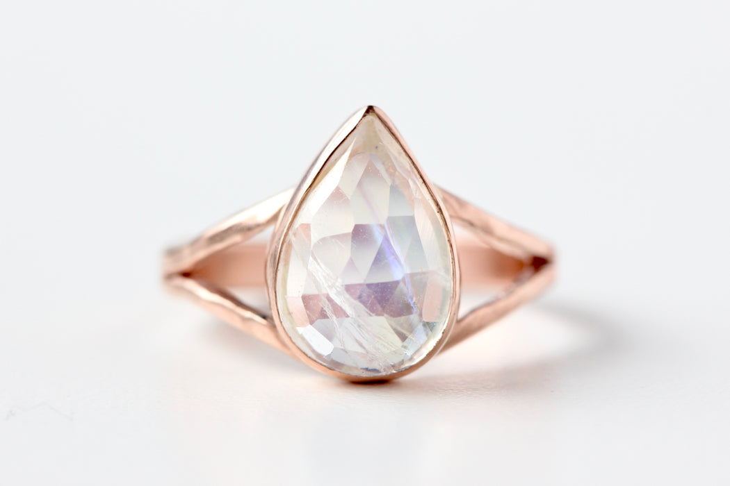 Pear Shaped Rosecut Rainbow Moonstone Ring in 14k Gold Split Shank
