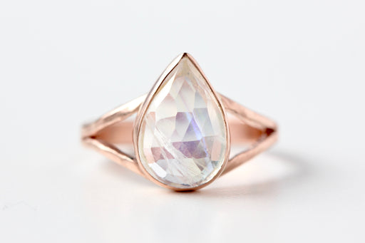 Pear Shaped Rosecut Rainbow Moonstone Ring in 14k Rose Gold Split Shank
