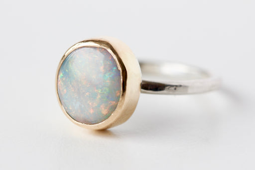 Australian Opal Ring in 14k Yellow Gold and Sterling Silver