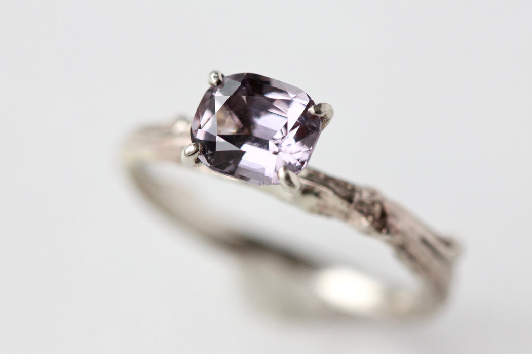 Ready to Ship Grey Lilac Spinel Solitaire Twig Ring in Recycled 14k White Gold