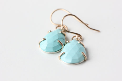 Turquoise Earrings in 14k Gold and Sterling Silver - Rose Cut Pear Drops