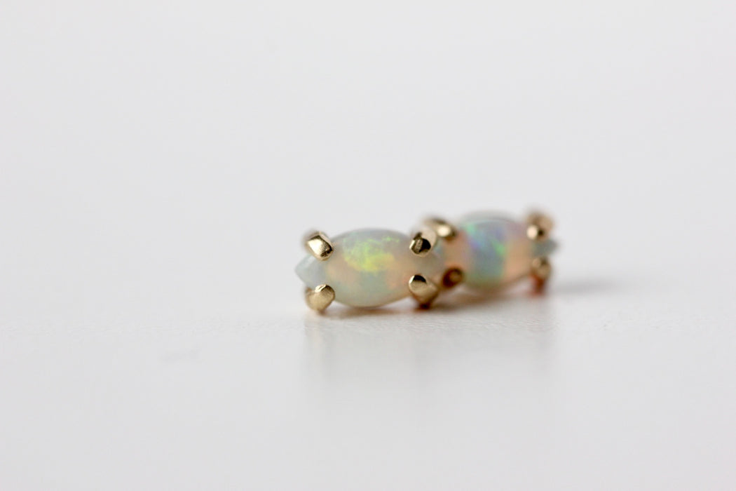 Marquise Opal Studs in 14k Yellow Gold Prong Settings