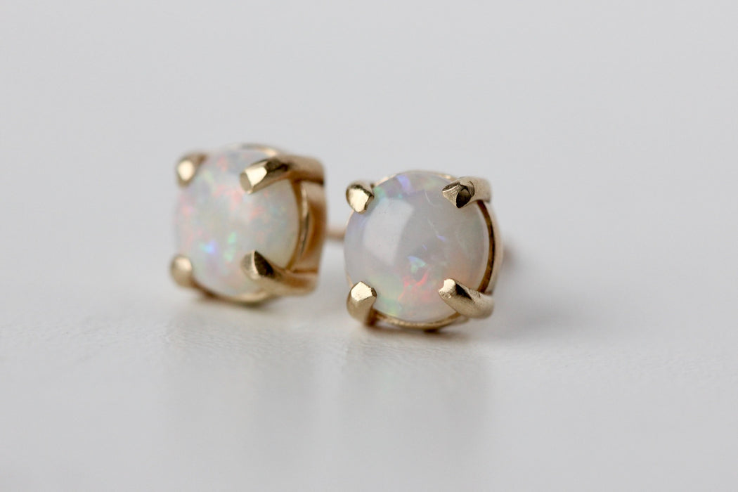 Opal Studs in 14k Yellow Gold Prong Settings