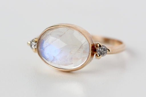 Ready to Ship Rainbow Moonstone Oval Ring with salt and pepper accents