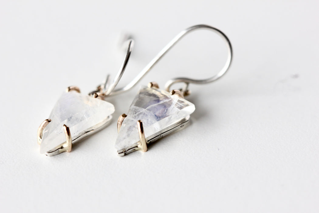Moonstone and Diamond Earrings in 14k Gold and Sterling Silver