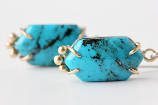 Turquoise Earrings in 14k Gold and Sterling Silver - Elongated Hexagon
