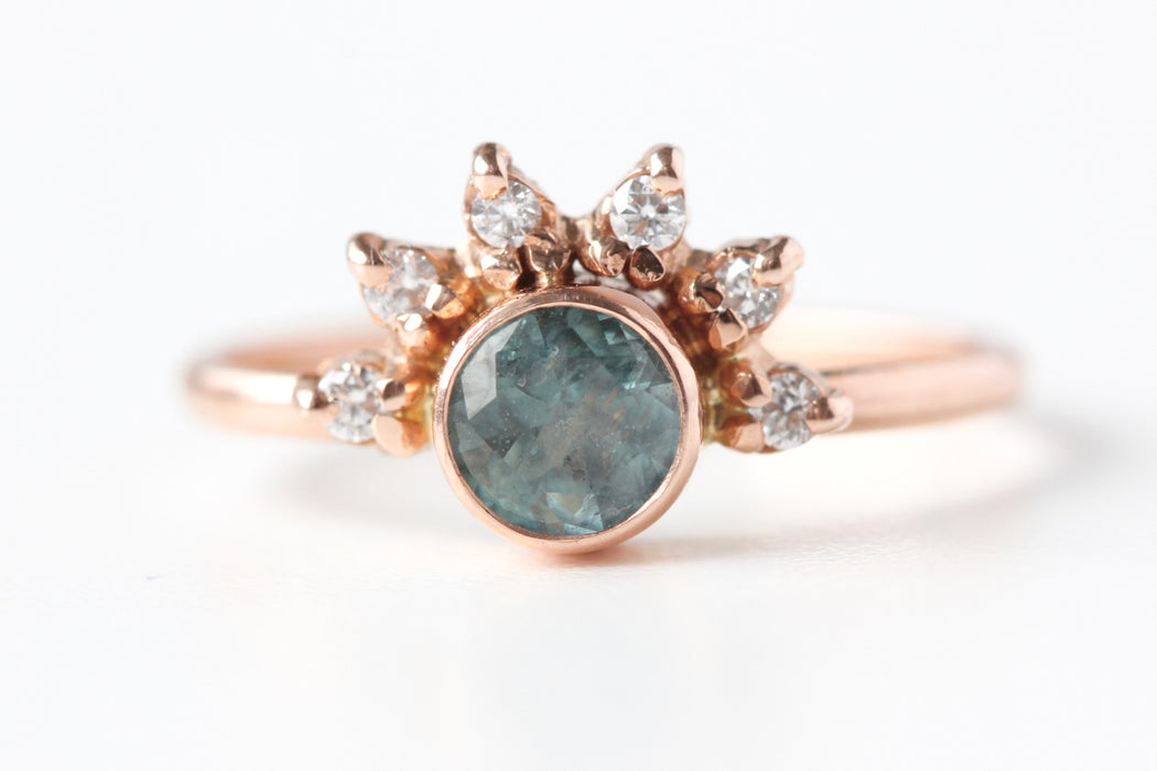 Ready to Ship Rose Gold Montana Sapphire Ring with Diamond Crown