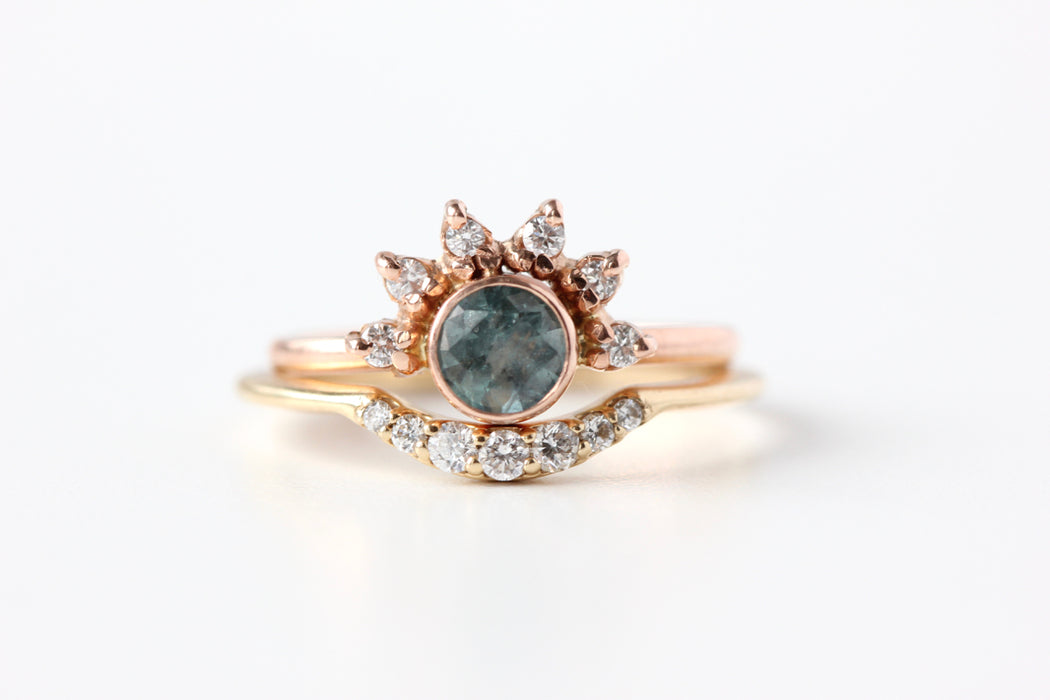 Montana Sapphire Ring with Diamond Crown