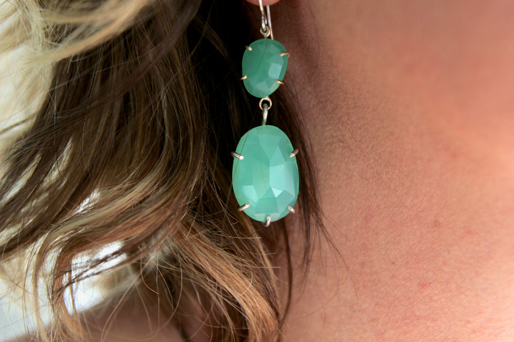 Chrysoprase Earrings in 14k gold and sterling silver - Reserved for Kelly