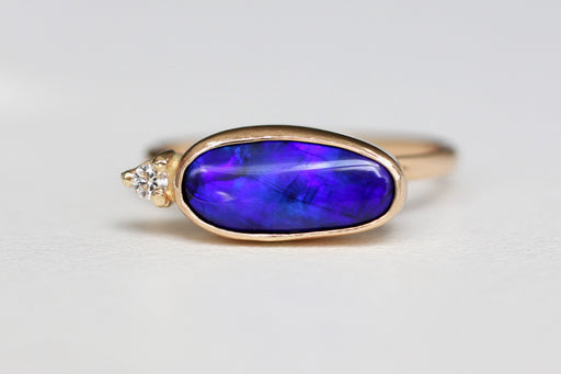 Black Opal Ring with Diamond Accent in 14k Yellow Gold