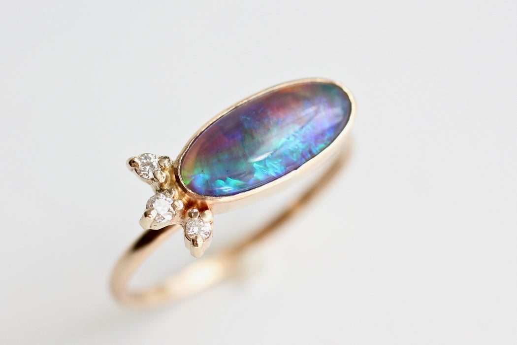Black Opal Ring with Diamond Spray Accent in 14k Yellow Gold