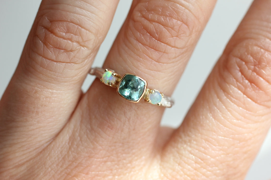 Tourmaline and Opal Ring with Twig Band