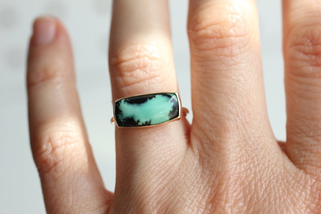Spiderweb Variscite Ring in 14k Yellow Gold