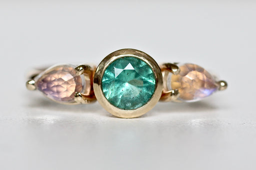 Colombian Emerald and Rose Cut Moonstone Ring in 14k Yellow Gold