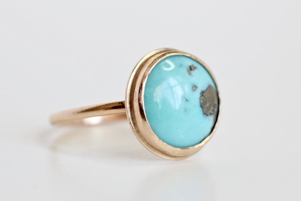 Round Turquoise Ring in 14k Yellow Gold - One of a Kind Bezel Set Gemstone